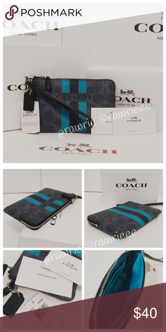 8dfd43f85a17 New Coach signature denim wristlet   gift box 100% authentic. Signature  denim colored coated canvas with black leather trim. Zip top closure and  fabric ...