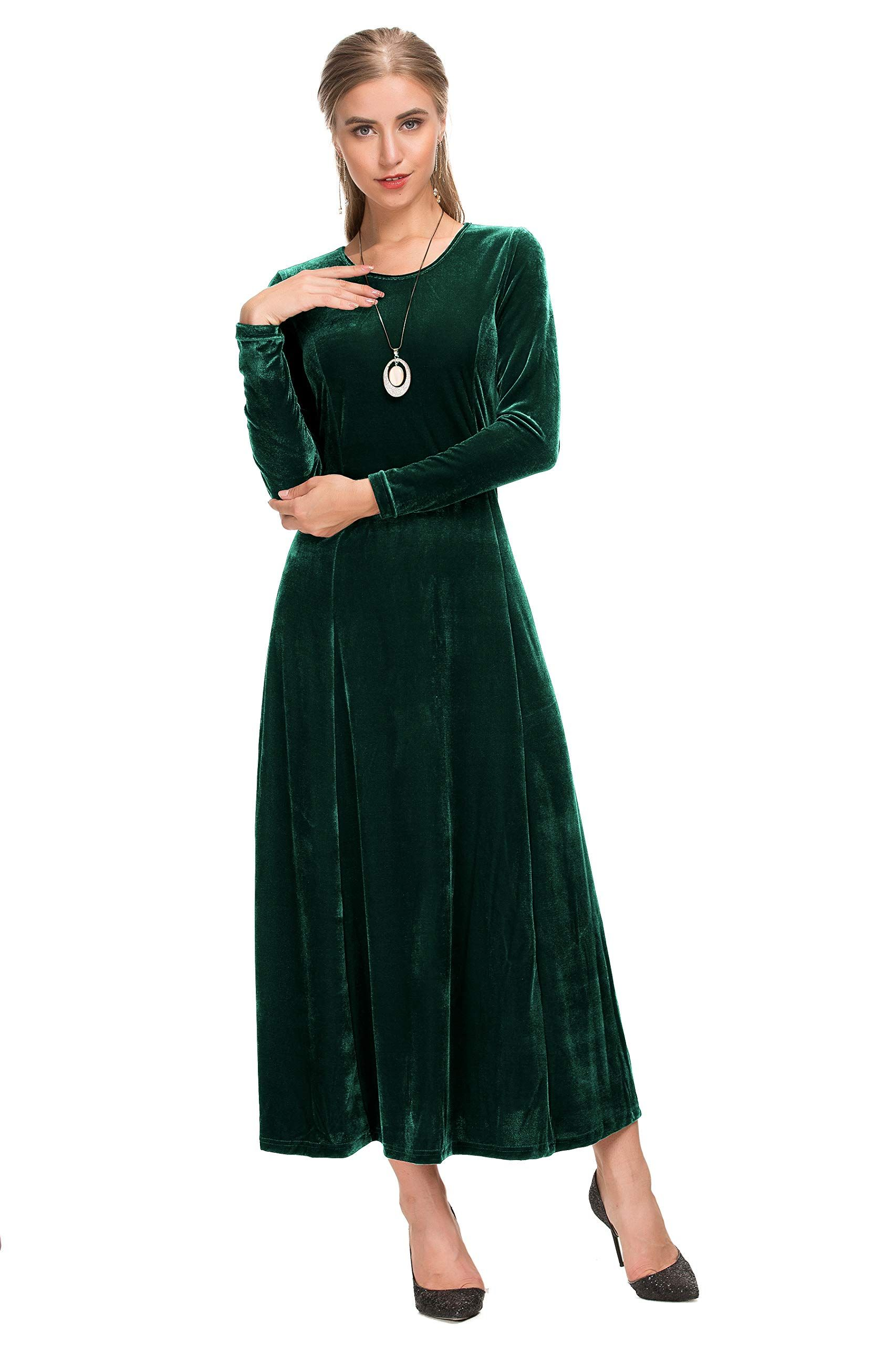 38f84d33e6 Le Vonfort Stylish Long Dress for Women Fit and Flare A Line Pretty Velvet  Wedding Party