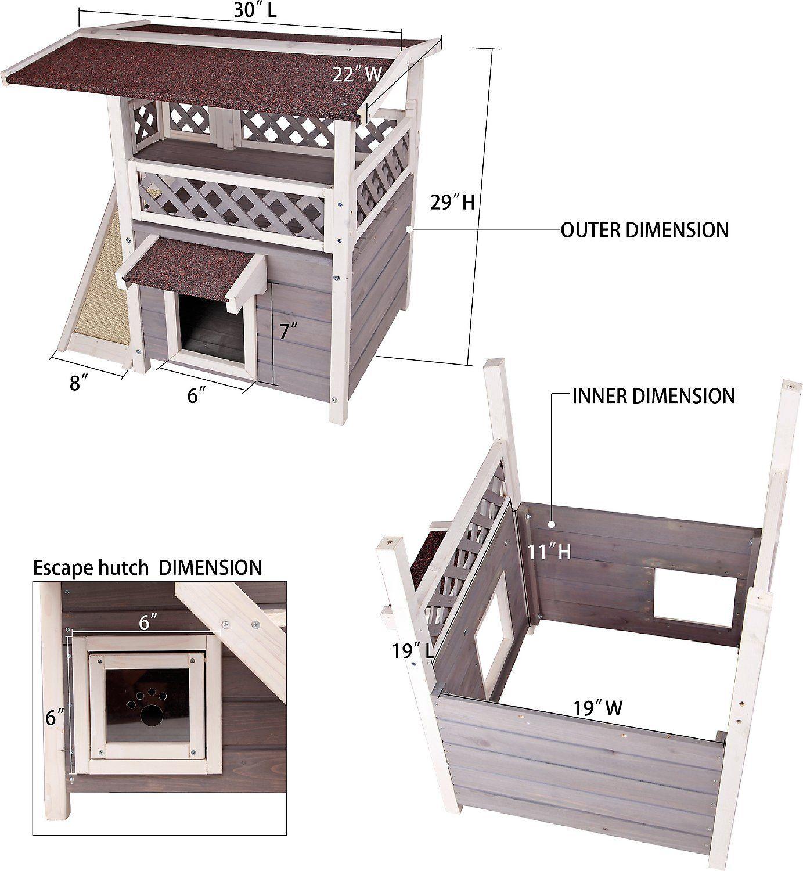 Petsfit 2 Story Outdoor Weatherproof Cat House