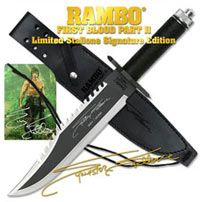 Rambo Knife - First Blood Part 2 Signature Edition: $129.99 - Knife is 15 3/8 in overall with a 10 in sharpened, ¼ in thick stainless steel blade with saw back. Push tang construction. Hollow aluminum cord gripped handle containing an emergency survival kit and compass (mounted in the pommel). Guard has both standard and Phillips head screwdriver points. Limited Edition. Includes leather sheath and certificate of authenticity.