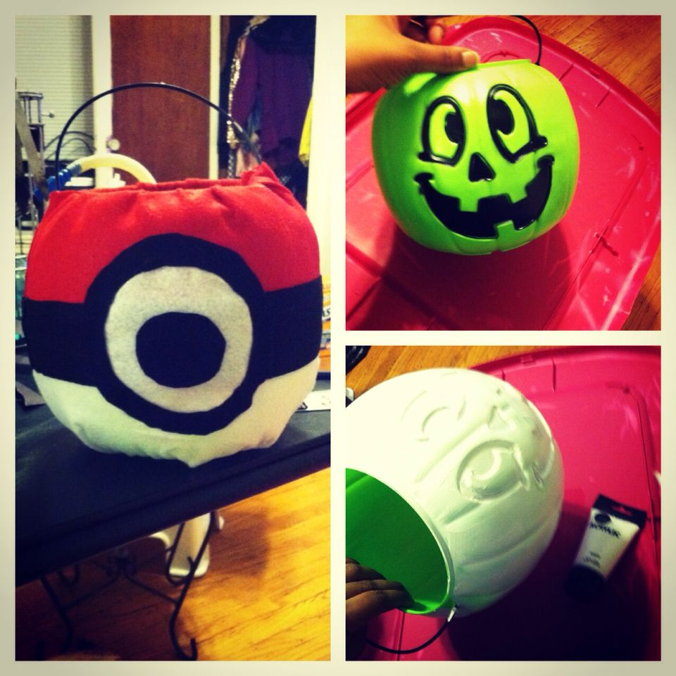 Diy Pokeball basket for Halloween. Made with a $1 bucket, paint ...
