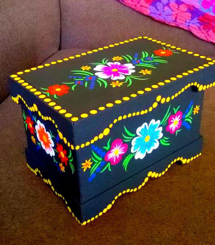 43fb85486 Cofre en madera decorado a mano | Madera | Cajas de madera decoradas ...