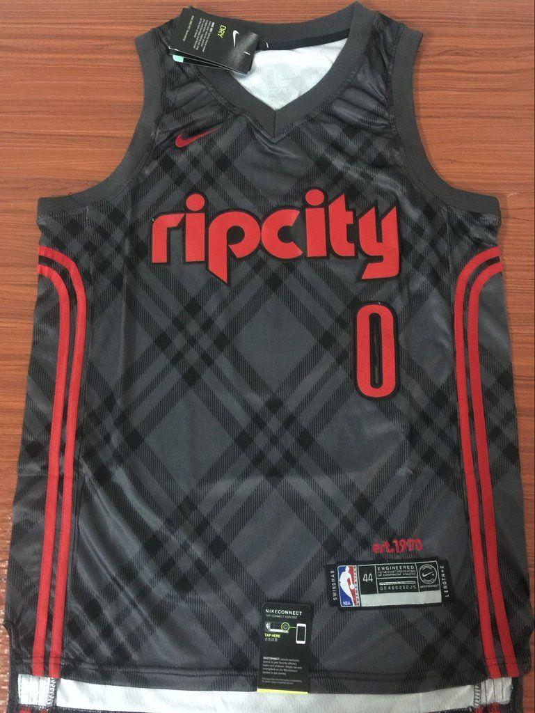 Men 0 Damian Lillard Jersey Rip City Black Portland Trail Blazers Fanatics Portland Trailblazers Jersey Nba Jersey