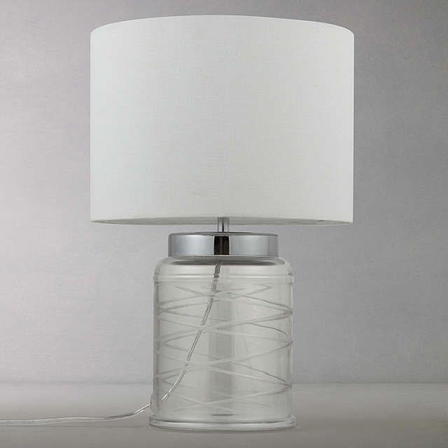 Buyjohn lewis tilda swirl glass table lamp clear white online at johnlewis com