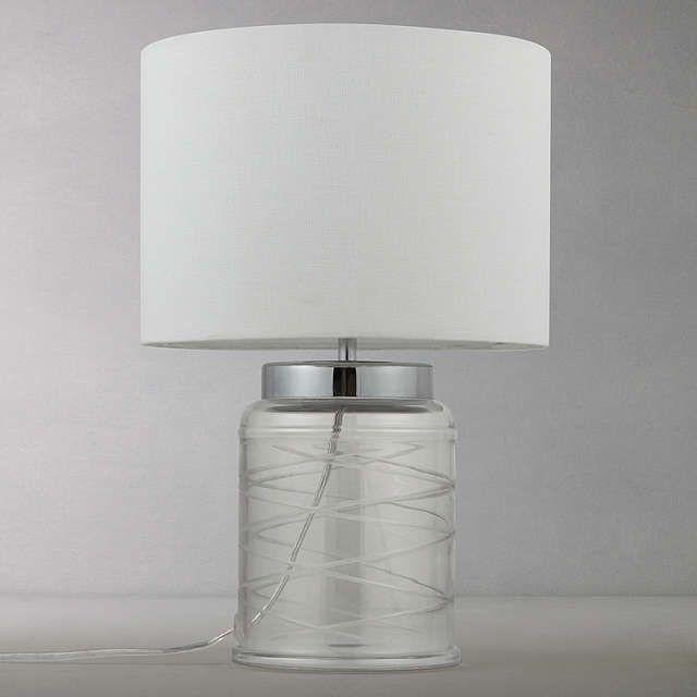 Buyjohn lewis tilda swirl glass table lamp clear white online at johnlewis com