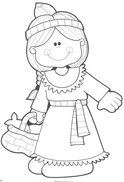cute thanksgiving indian girl coloring page - Girl Indian Coloring Pages