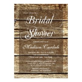 rustic country barn wood bridal shower invitations custom invites - Rustic Wedding Shower Invitations