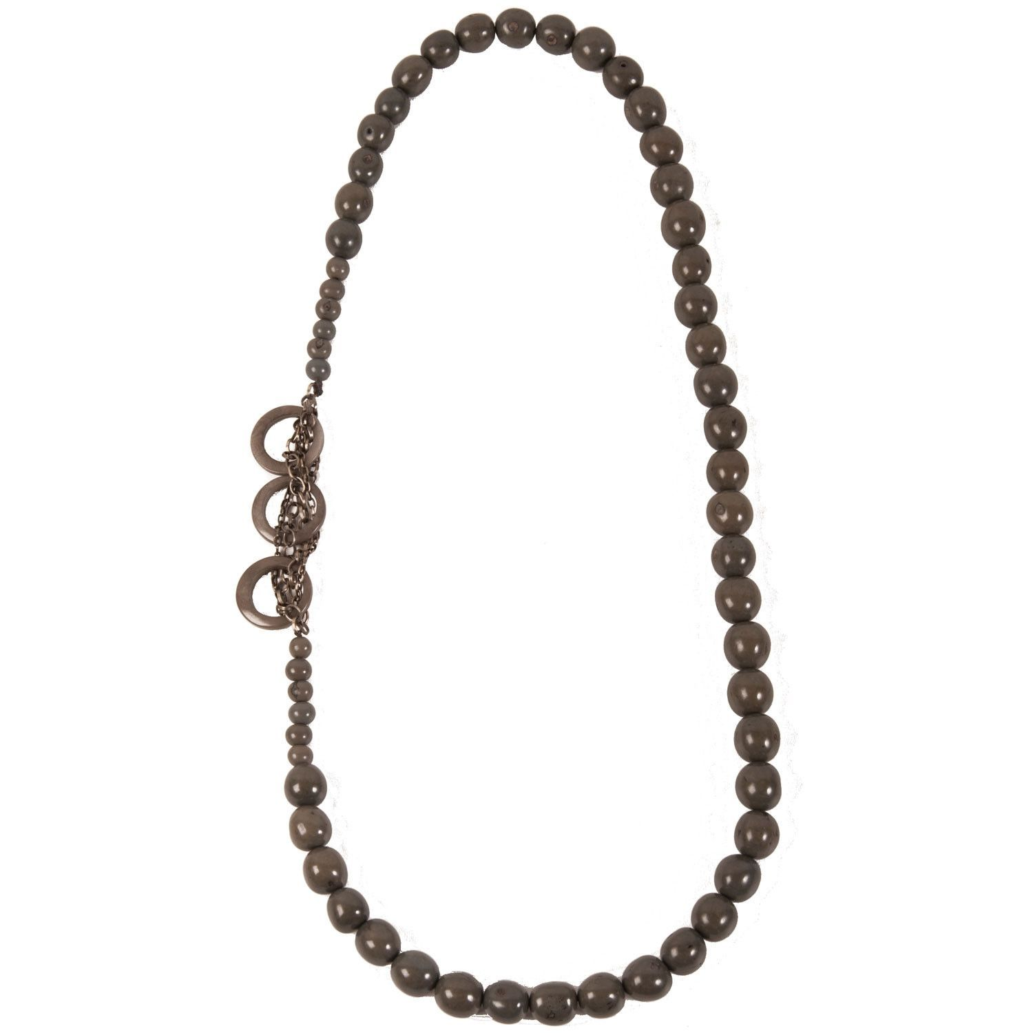Circle Chain Necklace in Soft Gray