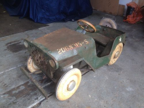 Tri Ang Willys Jeep Pedal Car US Army Military Land Rover 1950s Barn Find