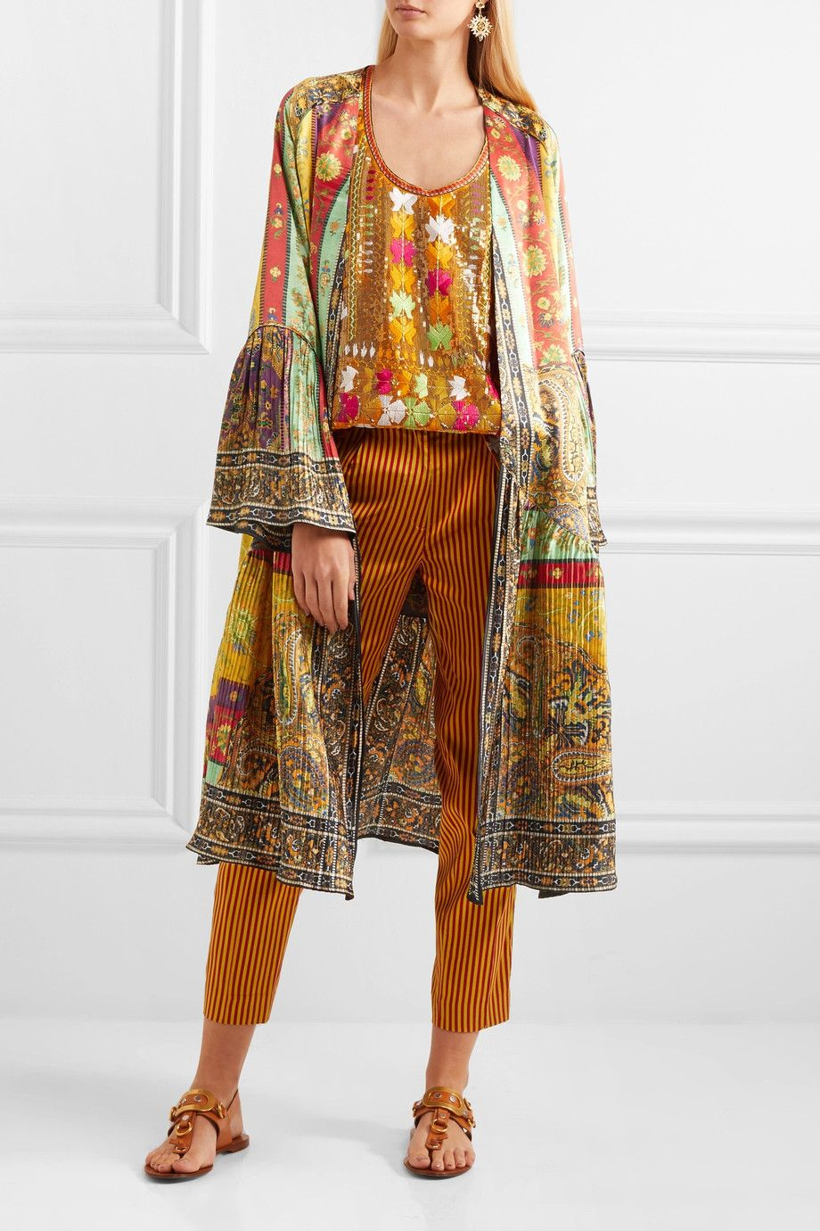 Etro printed plissé washedsilk jacket netaportercom Одежда