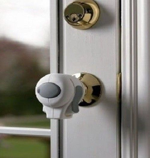 Child Proof Door Knob Lock Side Pinch Grip Standard Cover Kids Safe ...