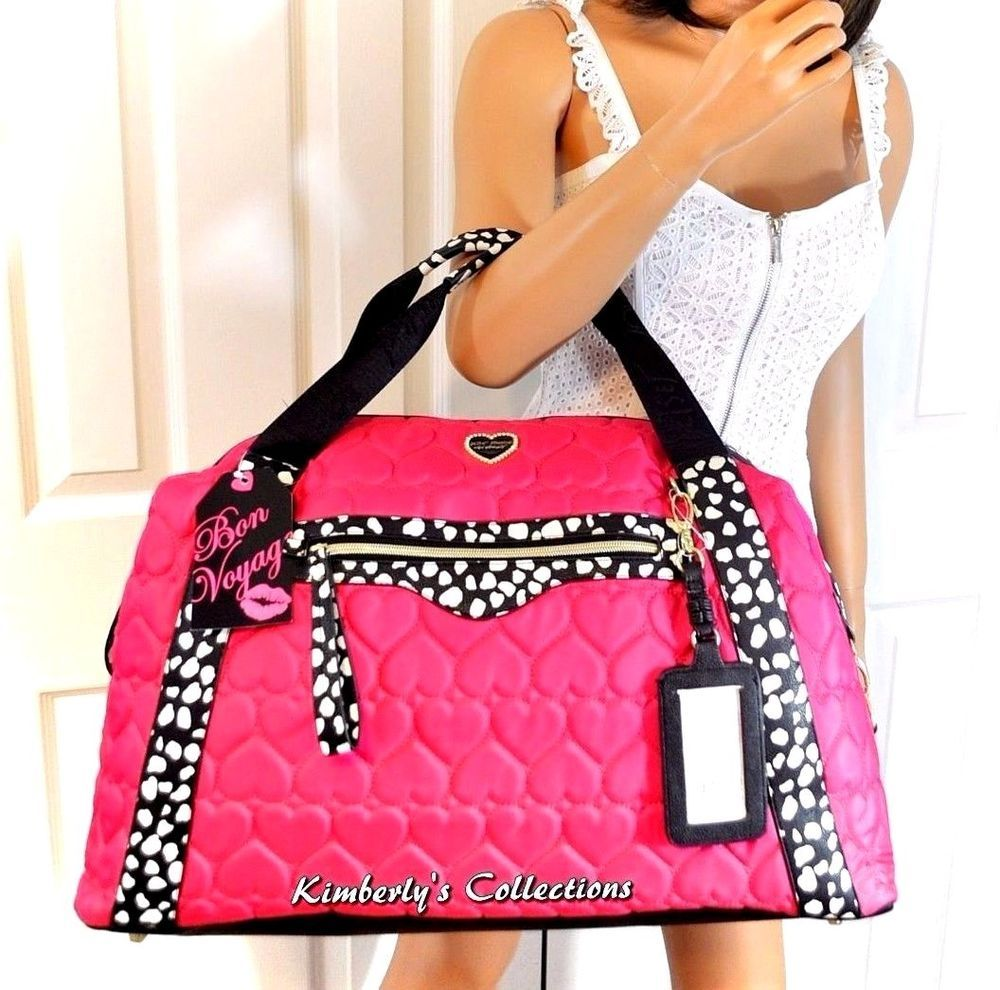 Betsey Johnson Weekender Subway Fushia Quilted Heart Satchel ... : quilted travel tote - Adamdwight.com