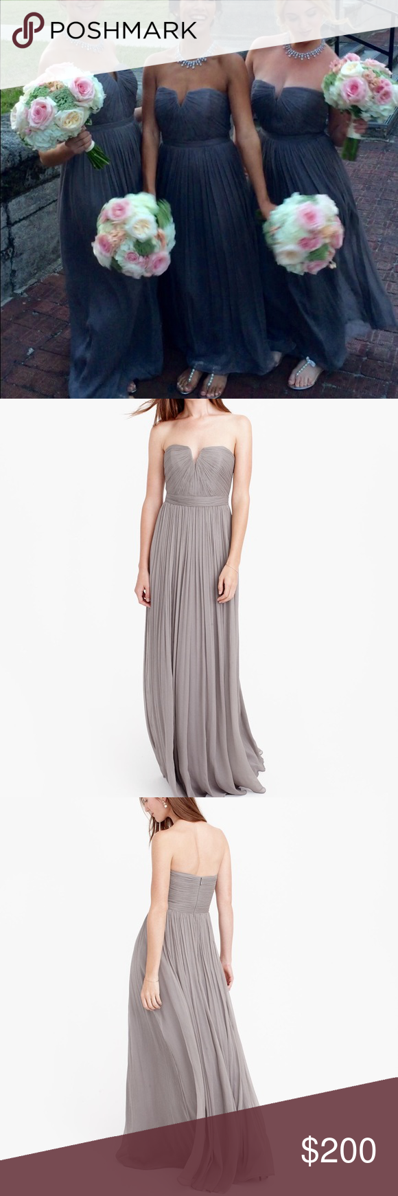 HP💕 J. Crew Nadia satin chiffon bridesmaids dress