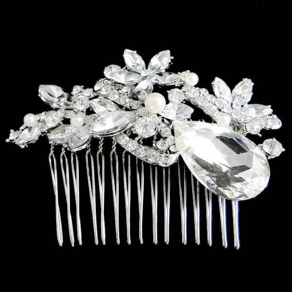 Vintage Inspired Swarovski Crystal, Bridal Hair Accessories, Wedding Pearl Hair Comb, Clear Rhinestone Silver Jewelry, Bridesmaid Gifts. $23.99, via Etsy.