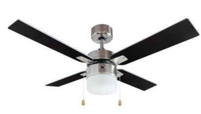 Blyss san antonio brushed chrome effect ceiling fan made from metal blyss san antonio brushed chrome effect ceiling fan made from metal and wood b mozeypictures Choice Image