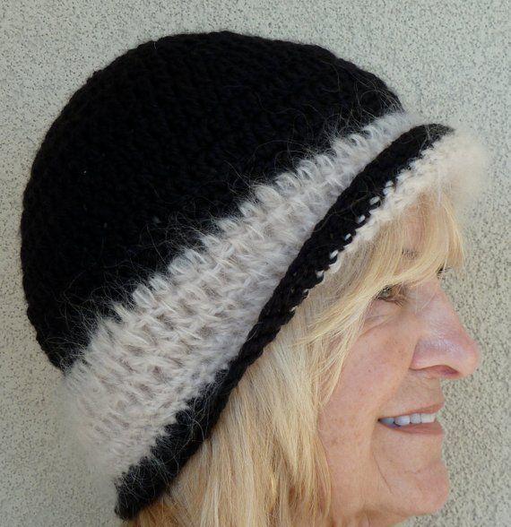 53b289fdeea Black and white women s crochet hat