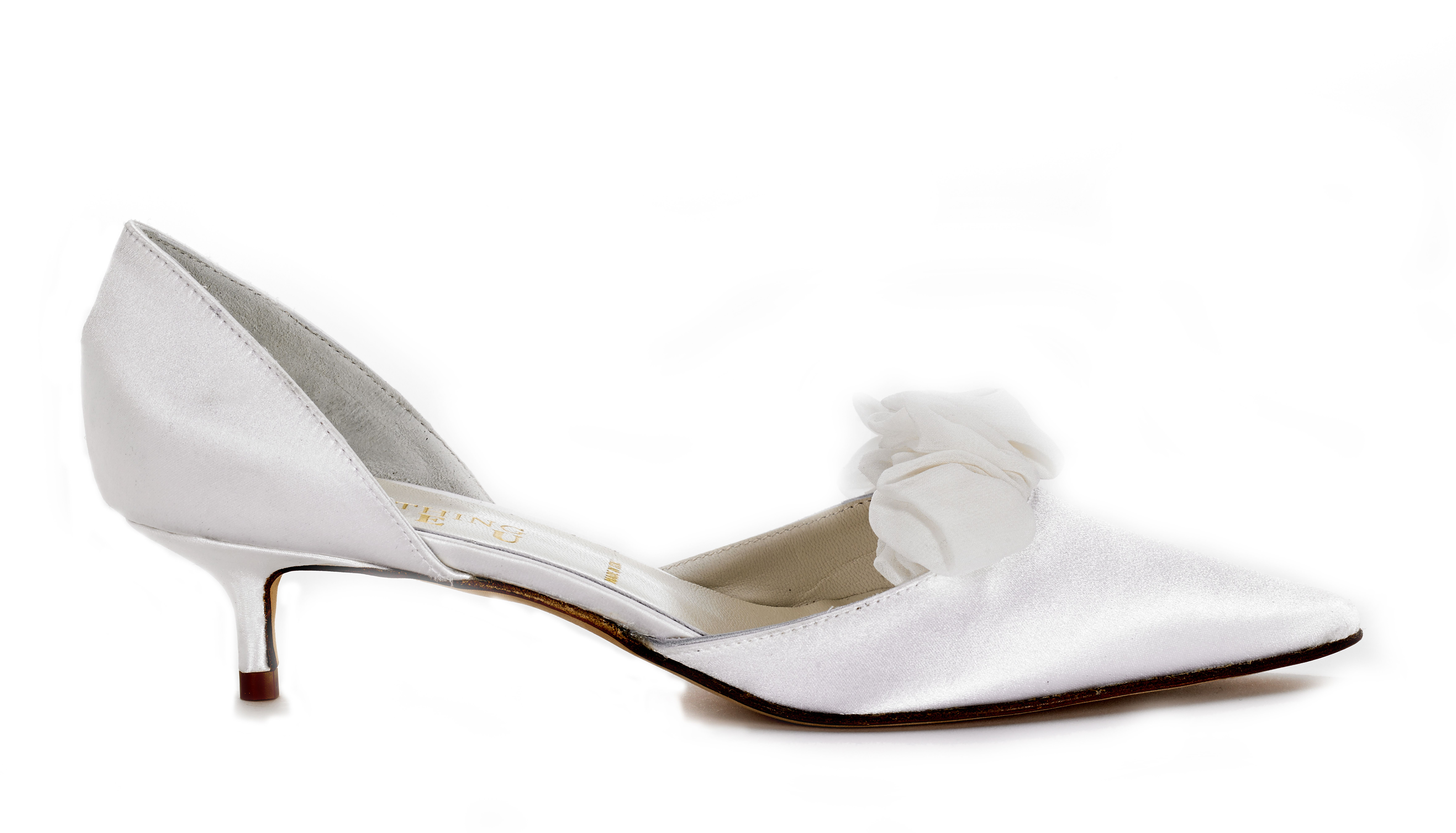 http://www.bellissimabridalshoes.com/bridal-shoes/white-bridal-shoes/something-bleu-chastity-bridal-shoes   TheSomething Bleu Chastity Bridal Shoes aresoft and simple lovely closed toe d'Orsay pumps with front ruffle detail. The design of t