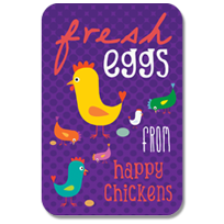 Fresh eggs from happy chickens.