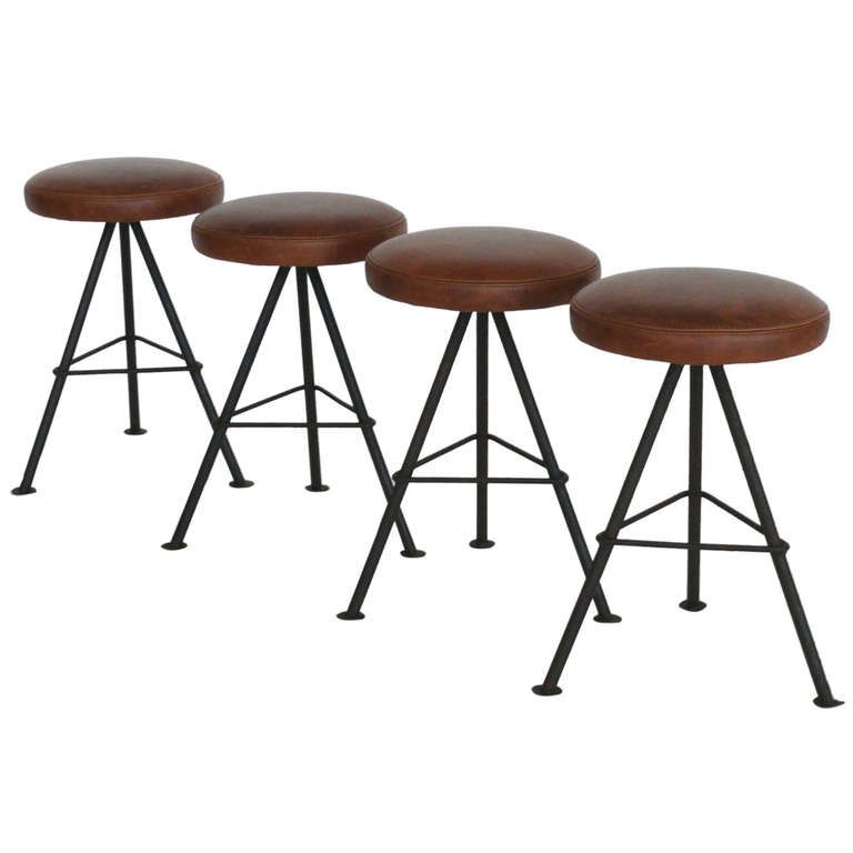 Cowhide Barstools Vintage Black White Hairhide Leather Bar: Petite Iron And Leather Stools