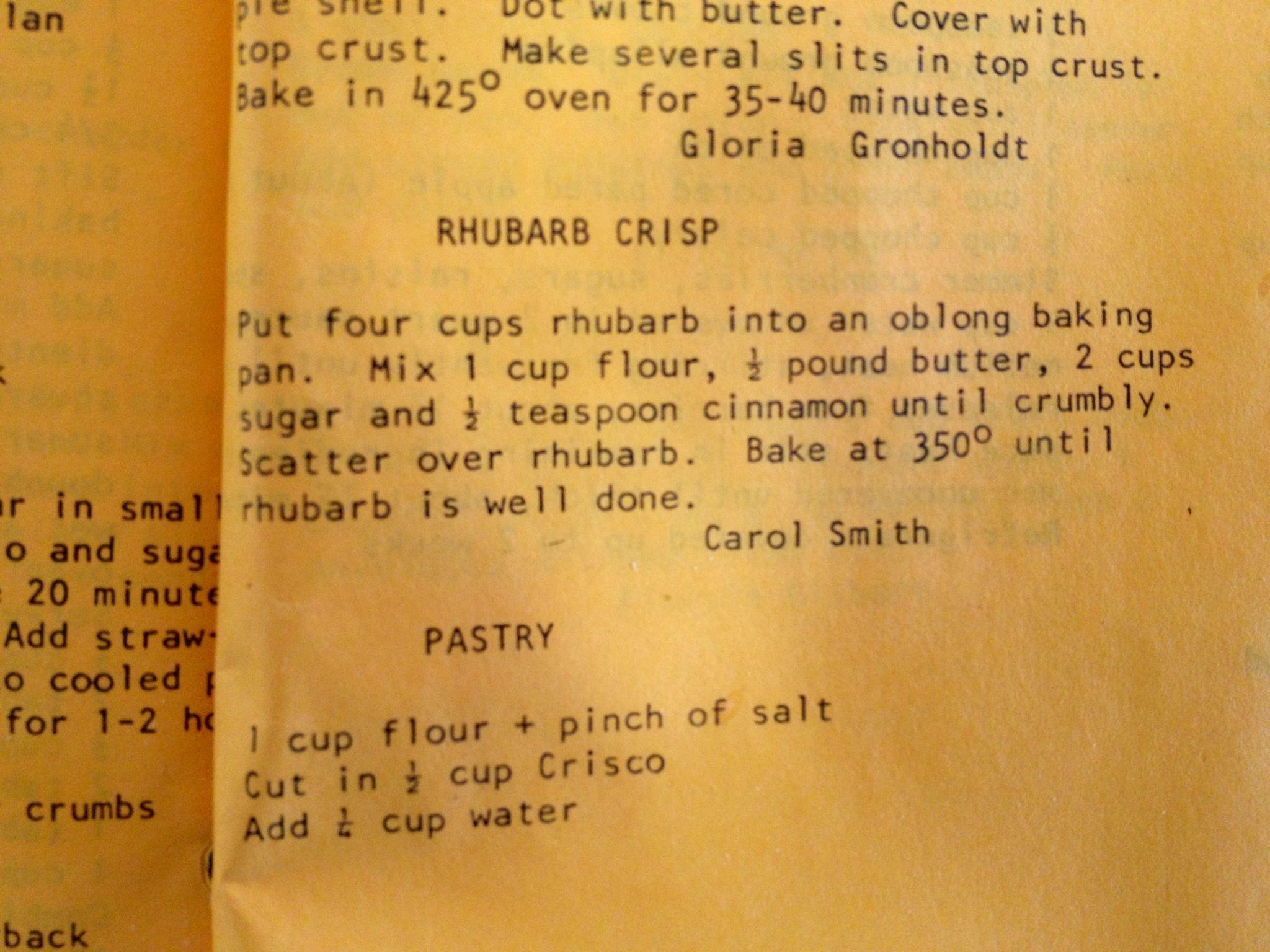 Rhubarb Crisp - recipe from Kodiak