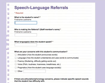 Online Speech And Language Referral Form Google Form  Language