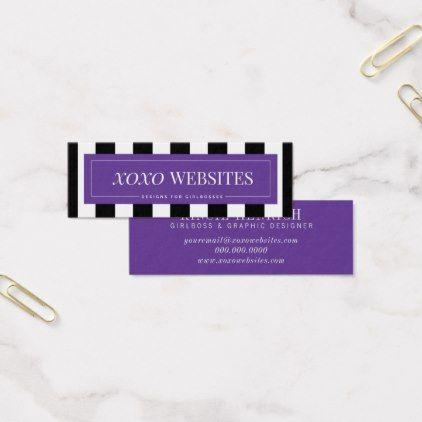 Bright purple stripe mini business cards reheart Choice Image