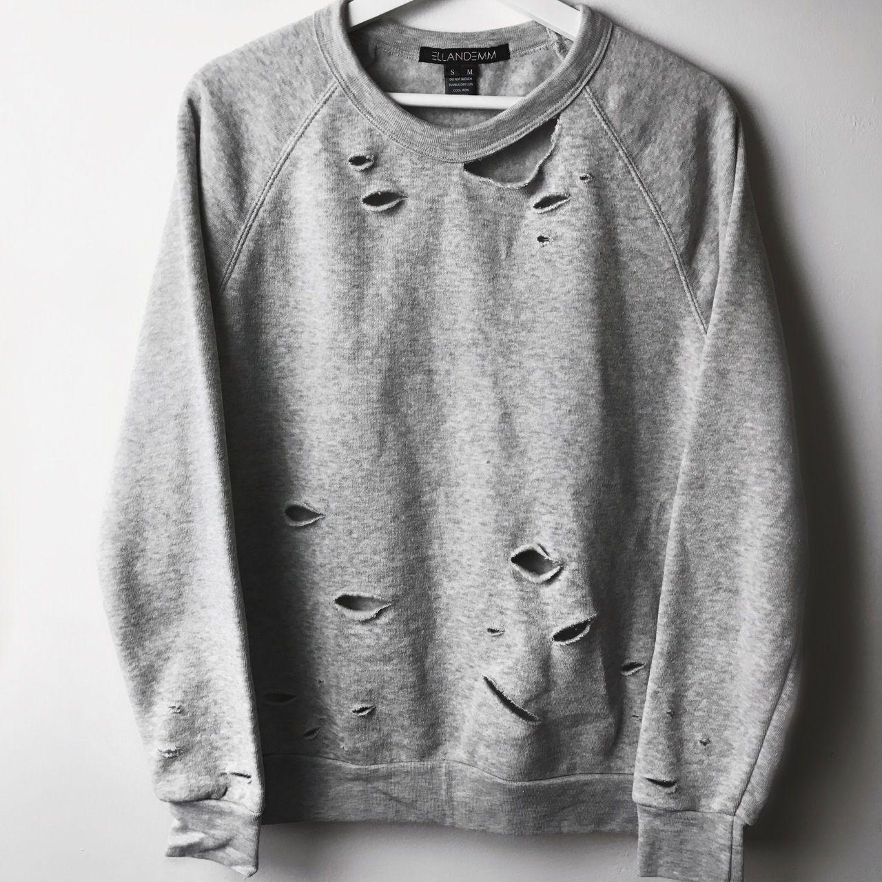 fd030bde43 EllandEmm - Distressed Sweatshirt - Oatmeal