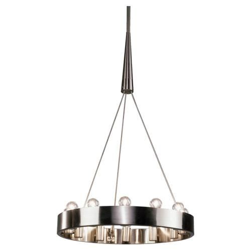 Candelaria Two-Tier Chandelier by Rico Espinet, features a Deep Patina Bronze, Polished Nickel, or Brushed Nickel finish.Direct Wire Only. Brushed Nickel Finish over Metal. 24