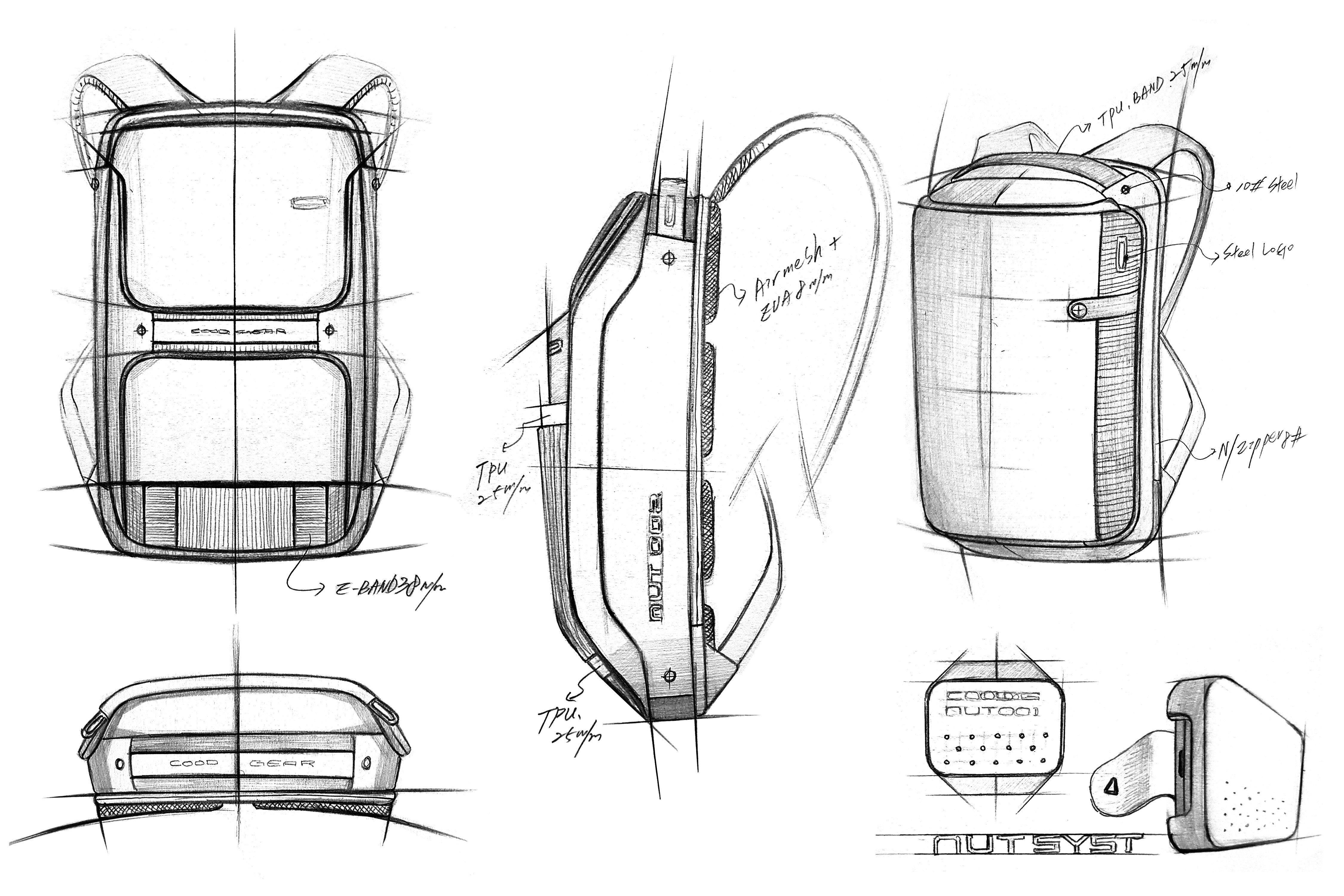 Cood Gear Idea Sketch Backpack Design Concept Industrial Design Sketch Bagpack Design