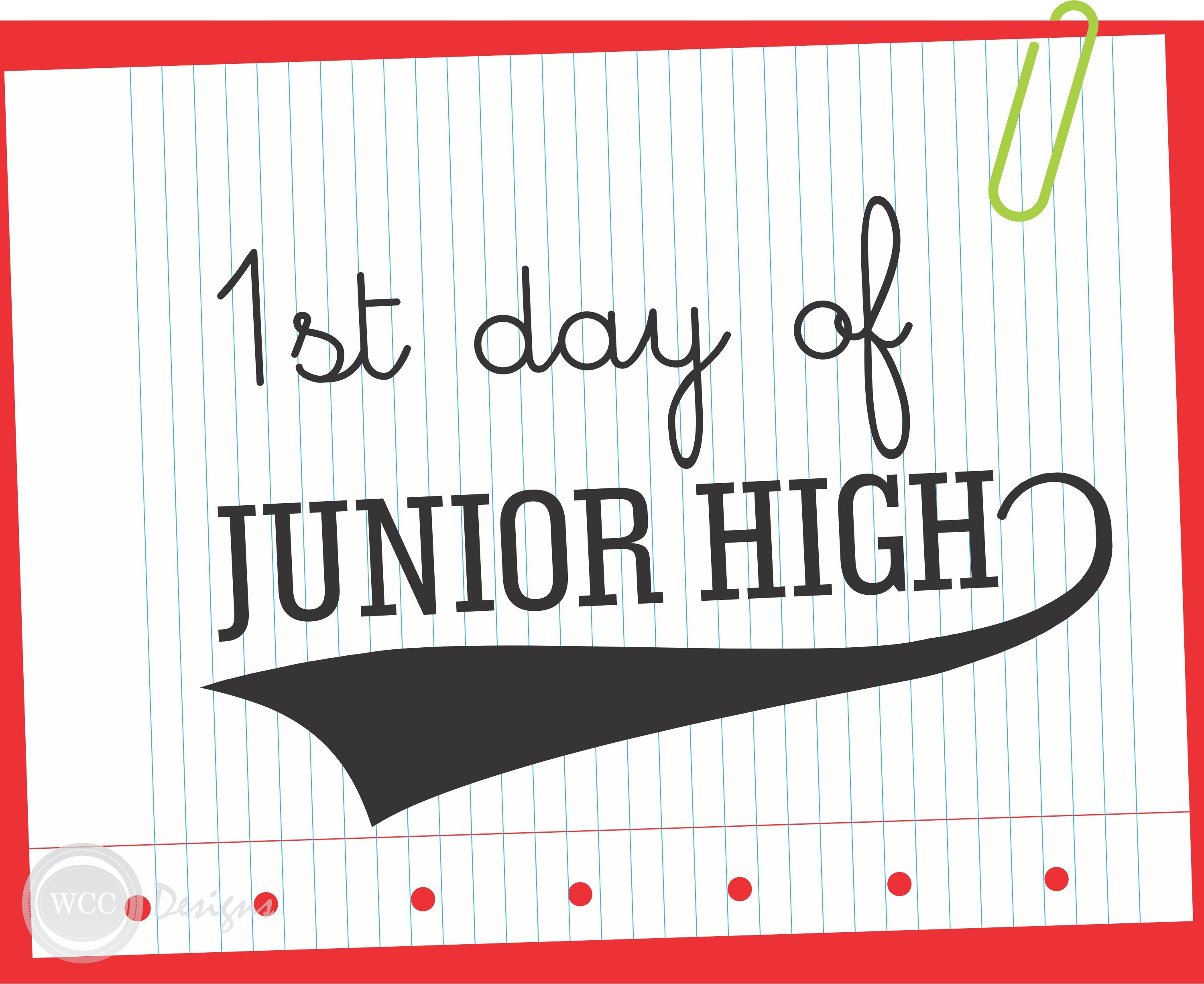 Free Printable First Day Of School Sign    Junior High #backtoschool  #firstdayof School