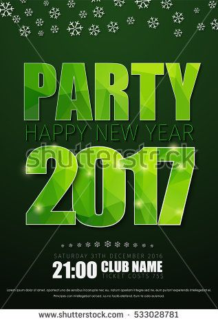 Poster Template For The New YearS Party In   Green Flyer