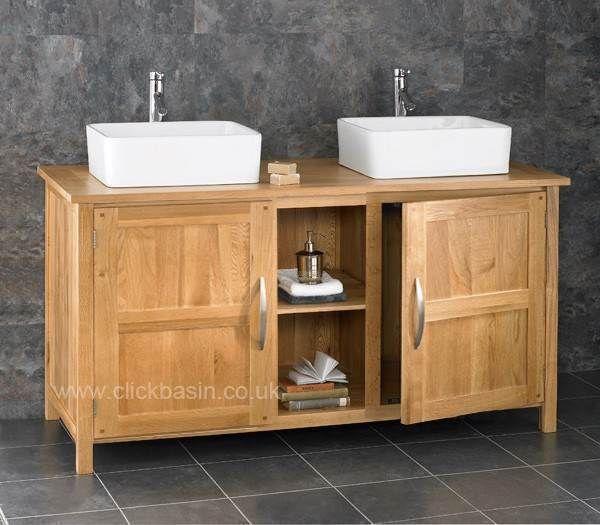 130cm Oak Bathroom Cabinet Freestanding Basin Double Sink Vanity Unit Cupboard Ebay