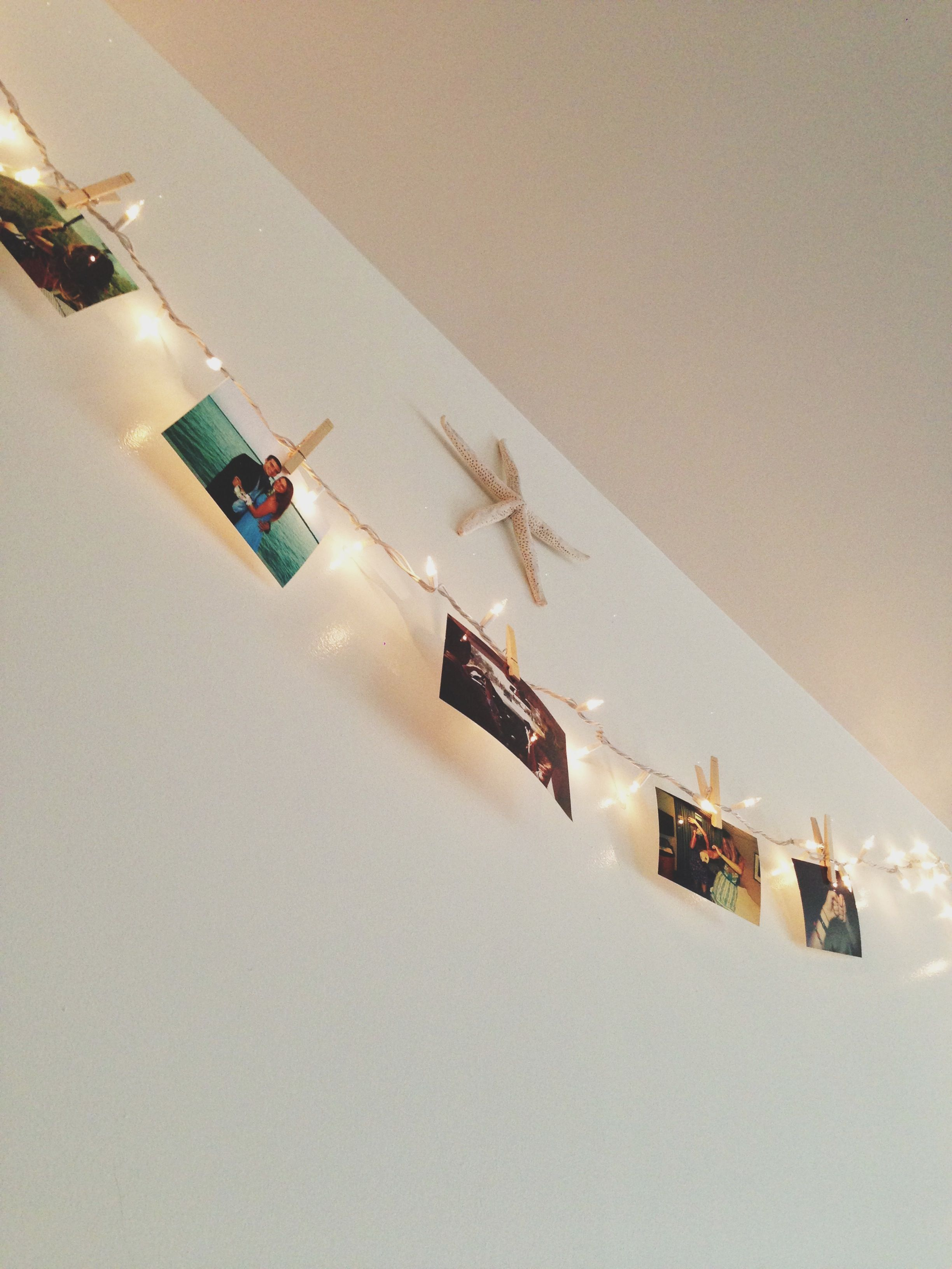Wall String Lights For Bedroom: String Lights Across A Wall Held Up With Little Nails