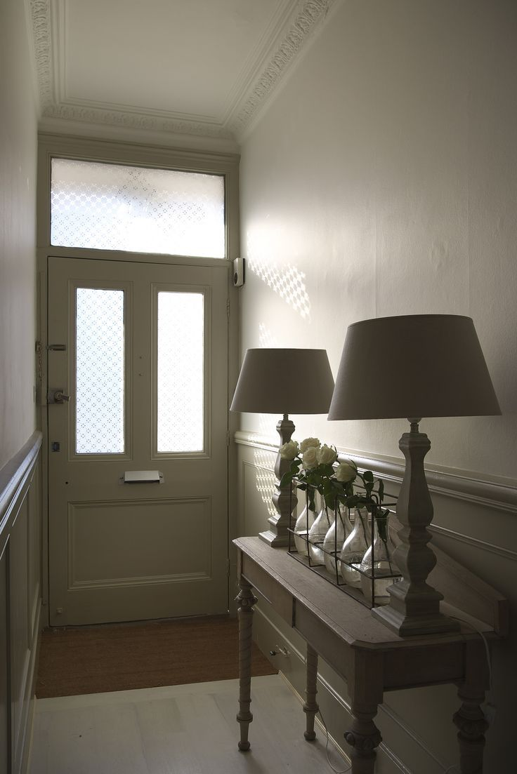 Entering Into The Narrow Hallway The Palest Of Taupe Paints Above The Dado Rail And A Chalky