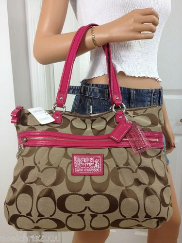 COACH PINK KHAKI BROWN SIGNATURE POPPY STYLE LARGE TOTE BAG PURSE ...
