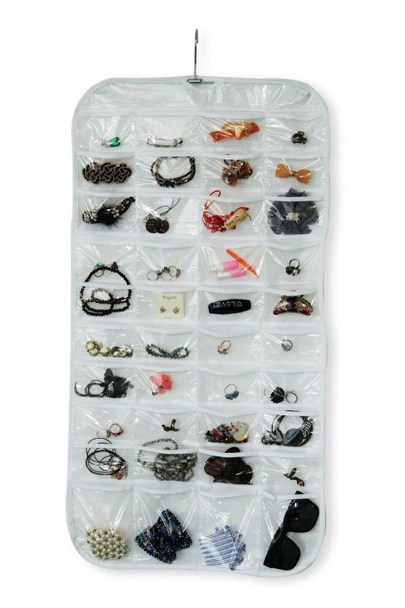 Hanging Jewelry Organizer 80 Pockets 2 Sides Hanging jewelry