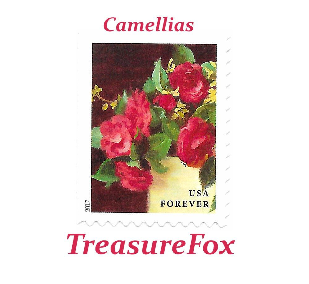 TEN Unused Red Camellias in Yellow Vase (50c) stamp / Mail Wedding ...