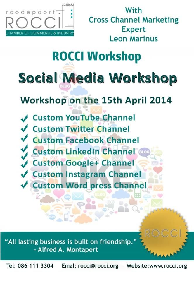 Join me for the #socialmedia Workshop! To book contact 086 1113304 #marketing