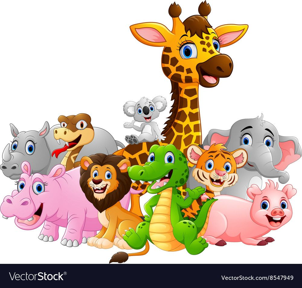 Illustration Of Happy Safari Animal Cartoon Download A Free Preview Or High Quality Adobe Illustrator Ai E Safari Baby Animals Safari Animals Cartoon Animals