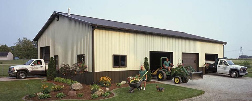 Suburban building profile use landscaping equipment for 40 by 60 pole barn