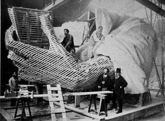 The Statue of Liberty being built in 1877 - 1885, Paris.