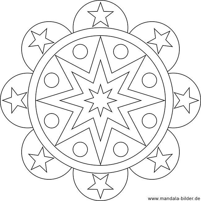 Gratis Ausmalbild Mit Sternen Als Mandala Ausmalbilder Mandala Malvorlagen Ausmalbilder Mandala