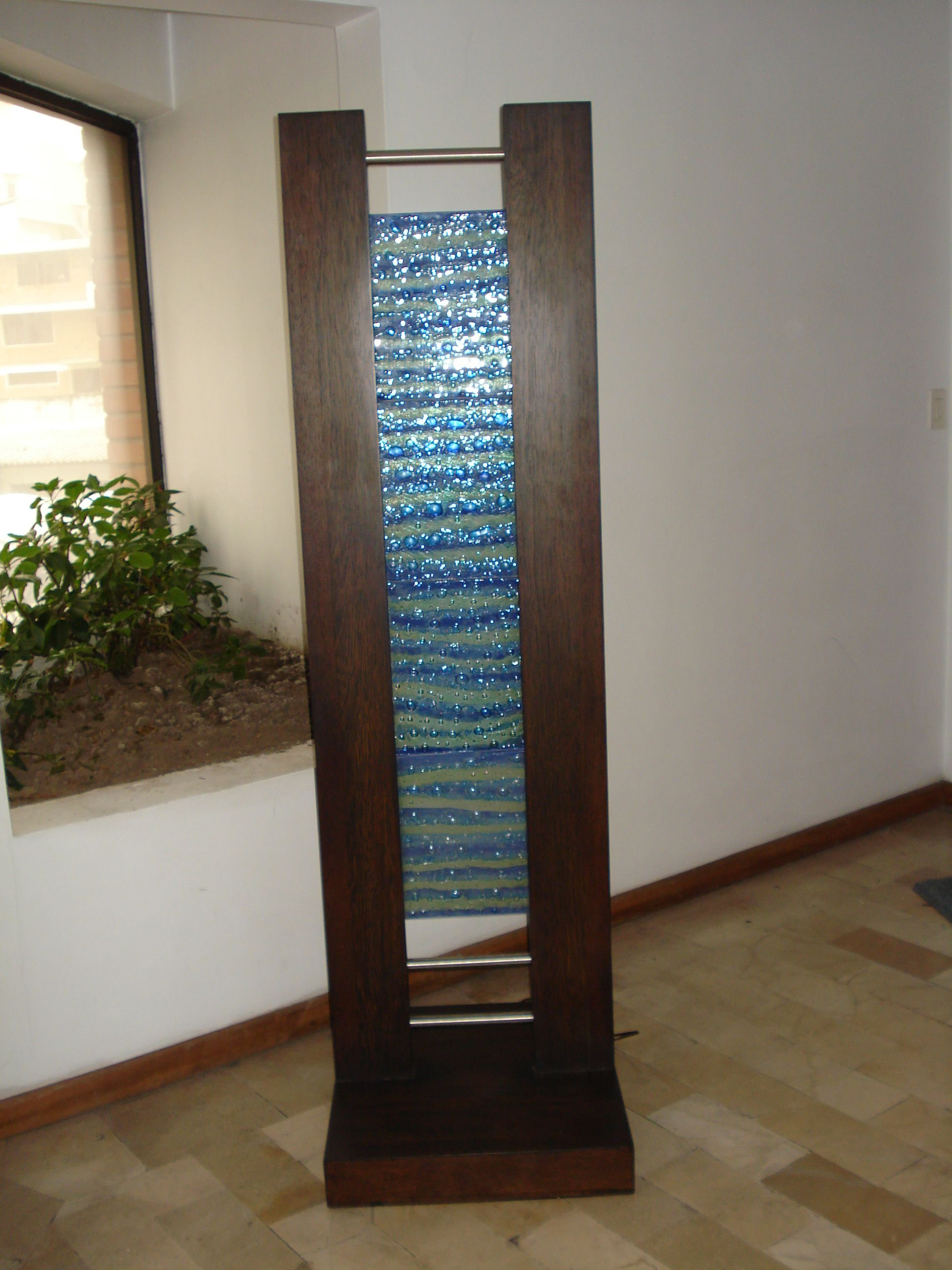 Floor lamp 4 pieces blue and turquoise in wood frame   Fused Glass ...