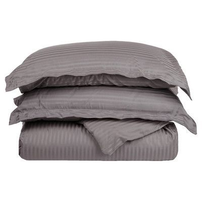 Brayden Studio Mayne Stripe Duvet Cover Set Size: King / California King, Color: Gray