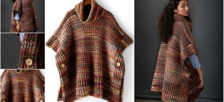 How To Knit a Poncho With Rib Texture | kötés | Pinterest