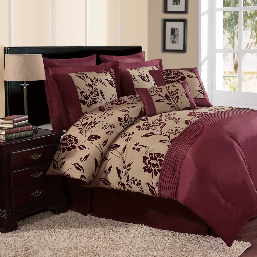 New Bed Bag King Queen 8 Pc Burgundy Red Gold Floral Comforter