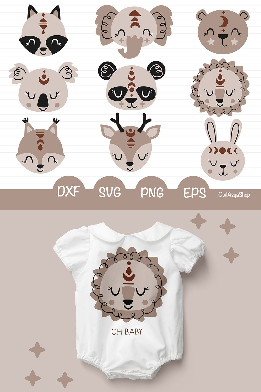 Boho Animal Face Clipart Bohemian Animals Svg Baby Animal Etsy Baby Illustration Clip Art Baby Svg