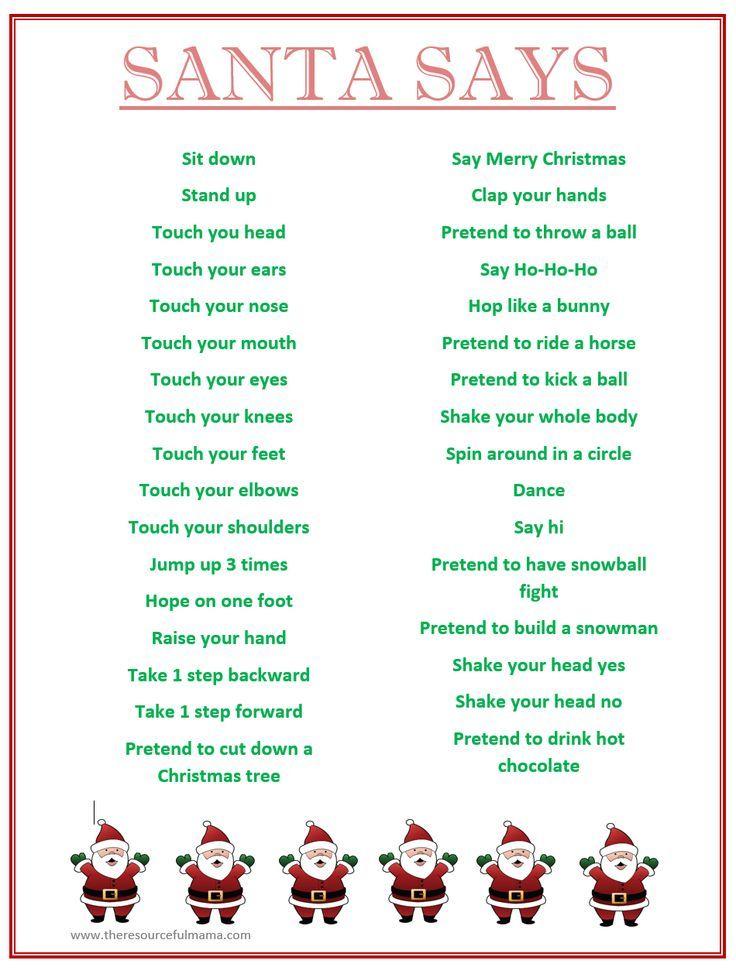Santa Says Game for Christmas Parties {FREE PRINTABLE   Free ...