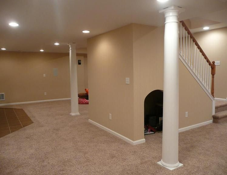 Finished Basement With Dog House Under The Stairs Great Use Of Wasted Space Basement Remodeling Finishing Basement Basement Design