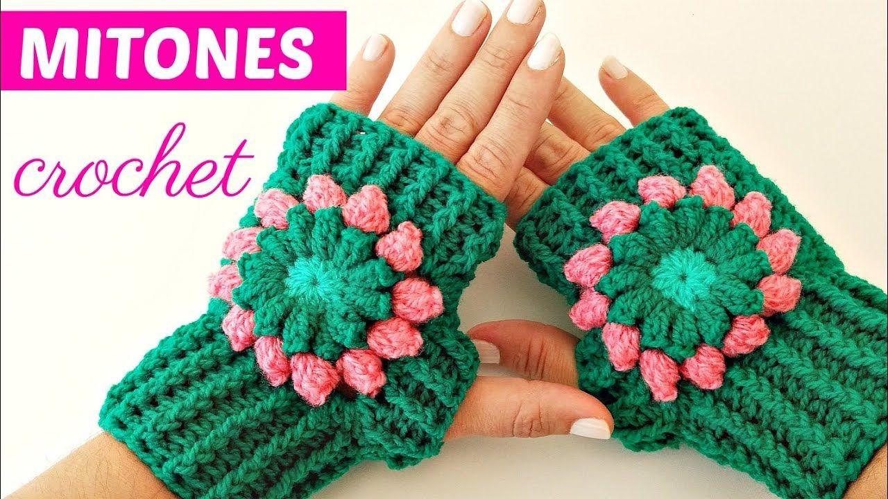 Mitones o Guantes sin dedo tejidos a crochet tutorial paso a paso ...